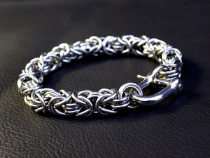 Men's silver bracelet byzantine thick chain stainless steel by san filippo leather