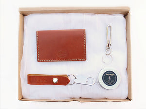 Men's Leather Card Wallet Gift Set Key chain by San Filippo Leather