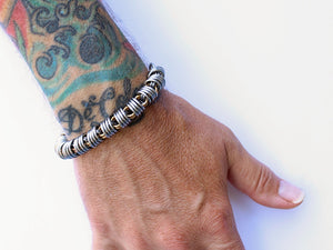 mens stainless steel brass silver coil bracelet round chain by san filippo leather