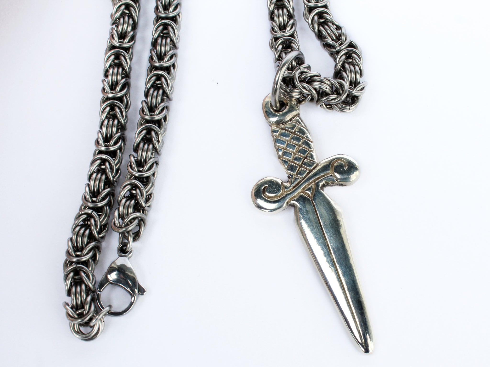 sterling silver dagger knife sword pendant with thick chain by san filippo leather