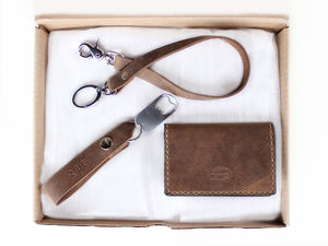 Leather Card Wallet Gift Set Wallet Chain keychain by san filippo leather
