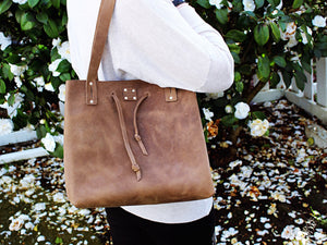 Womens beautiful custom leather tote drawstring bag purse by san filippo leather