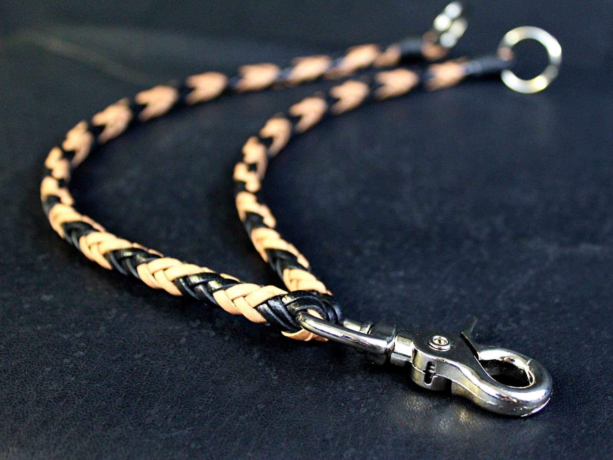 Mens double braided leather wallet chain two chains custom american made by san filippo leather