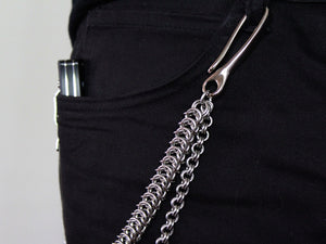 mens wallet chain double chain stainless steel silver unique by san filippo leather