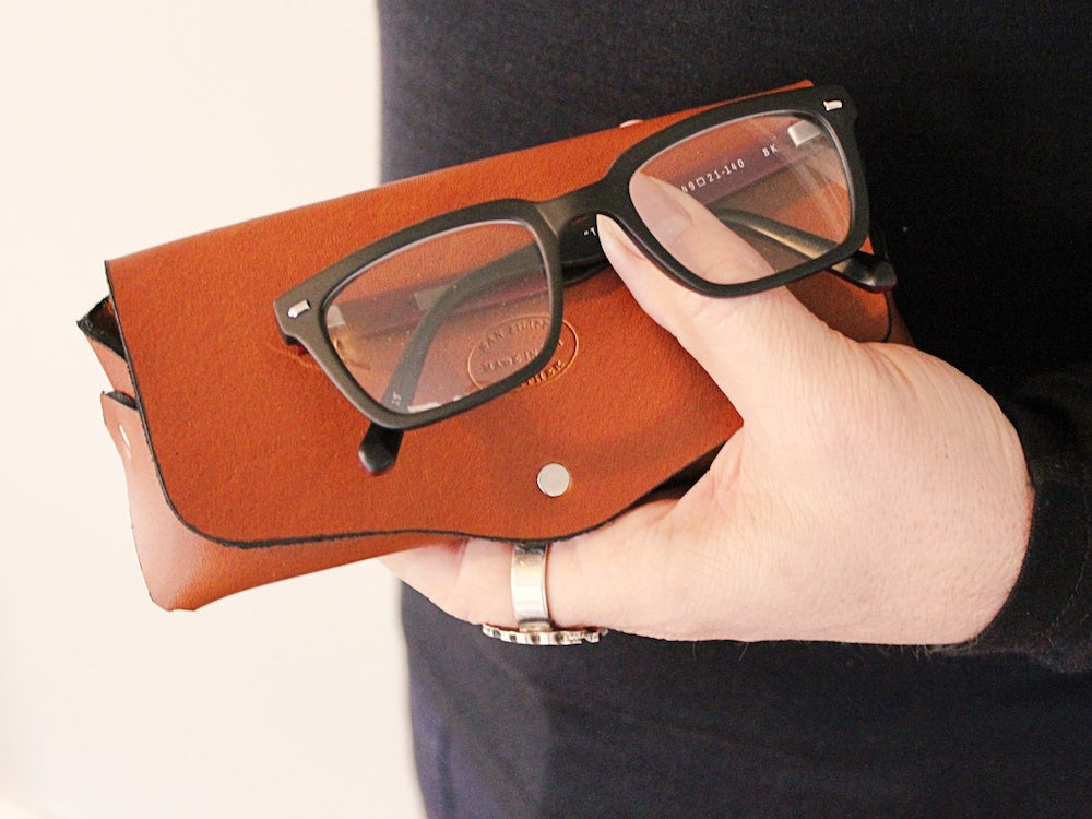leather eyeglass case with snap personalized by san filippo leather