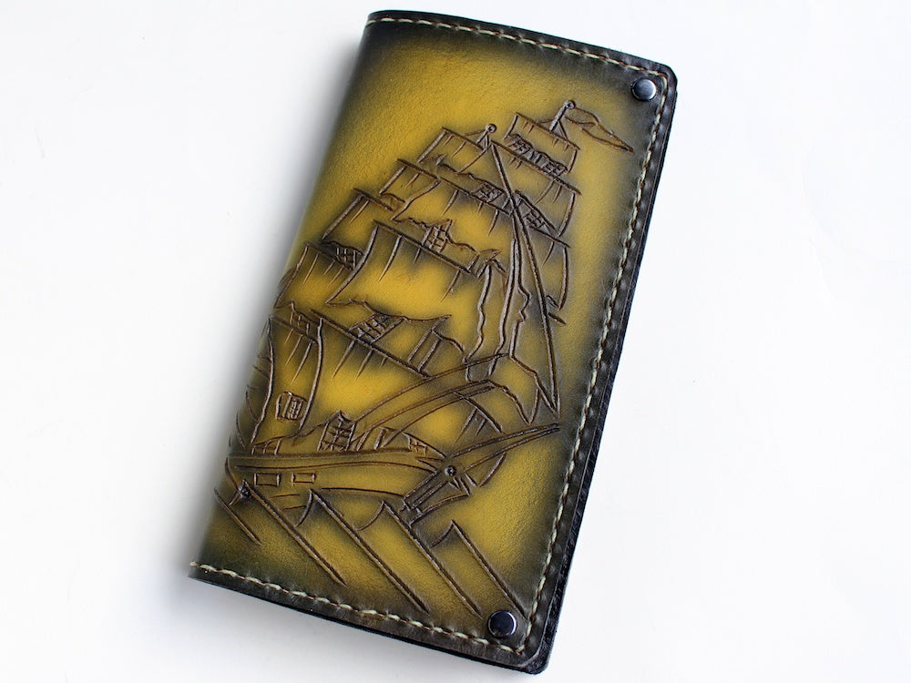 Gold yellow clipper ship pirate ship leather wallet custom by san filippo leather