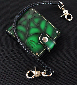 Green Spider Web Bifold Wallet by San Filippo Leather