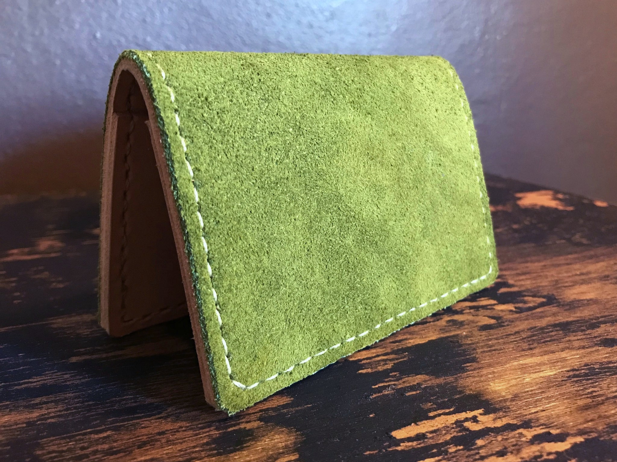 Mens Green Suede Leather Card Wallet by san filippo leather