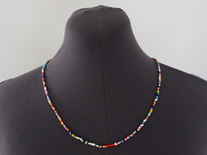 mens ibiza beaded necklace glass beads metal free by san filippo leather