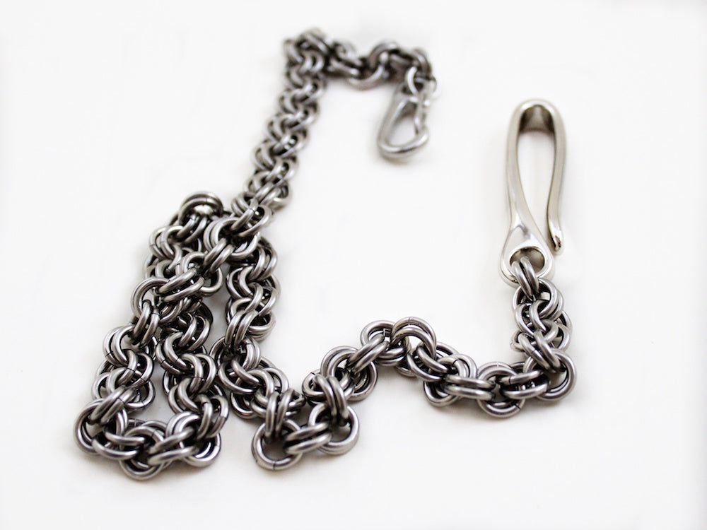 mens thick stainless steel silver wallet chain with hook by san filippo leather