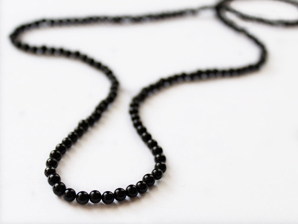 jet black beaded glass bead necklace for men by san filippo leather