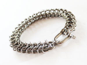 Mens Silver Stainless Steel Thick Bracelet Kings Link Chain by San Filippo Leather