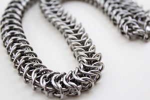 Mens thick heavy chain necklace kings link stainless steel silver by san filippo leather