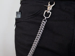 Mens thick heavy wallet chain kings link stainless steel silver by san filippo leather