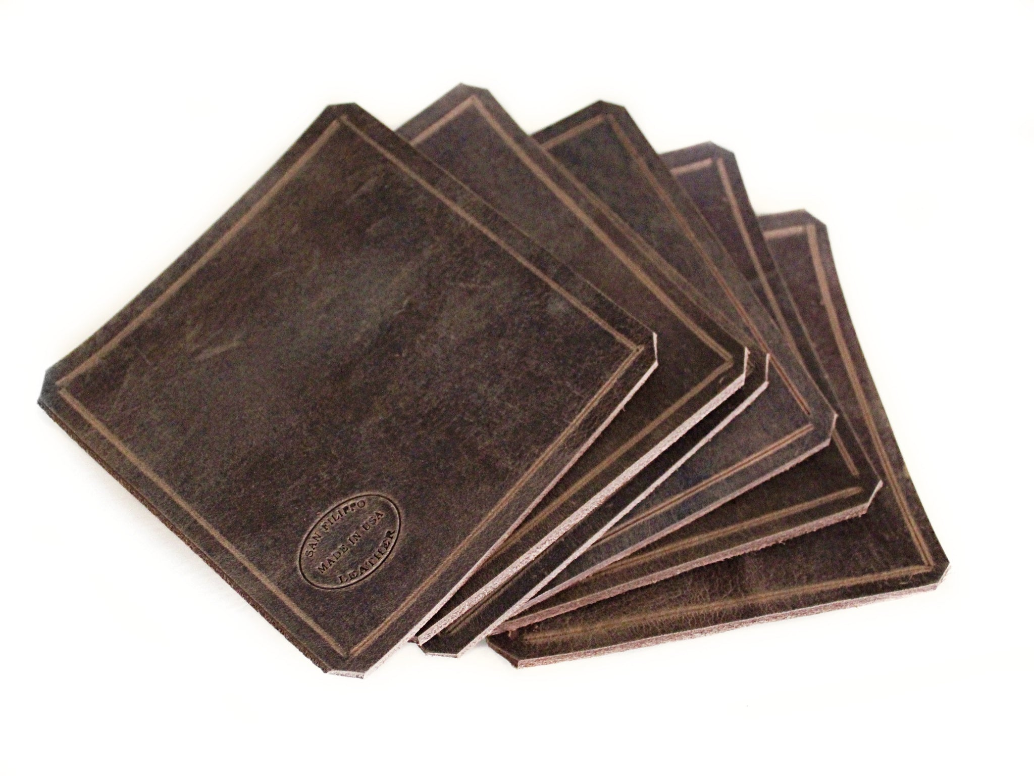 Brown Leather Coaster Set Square Barware Housewarming Gift San Filippo Leather