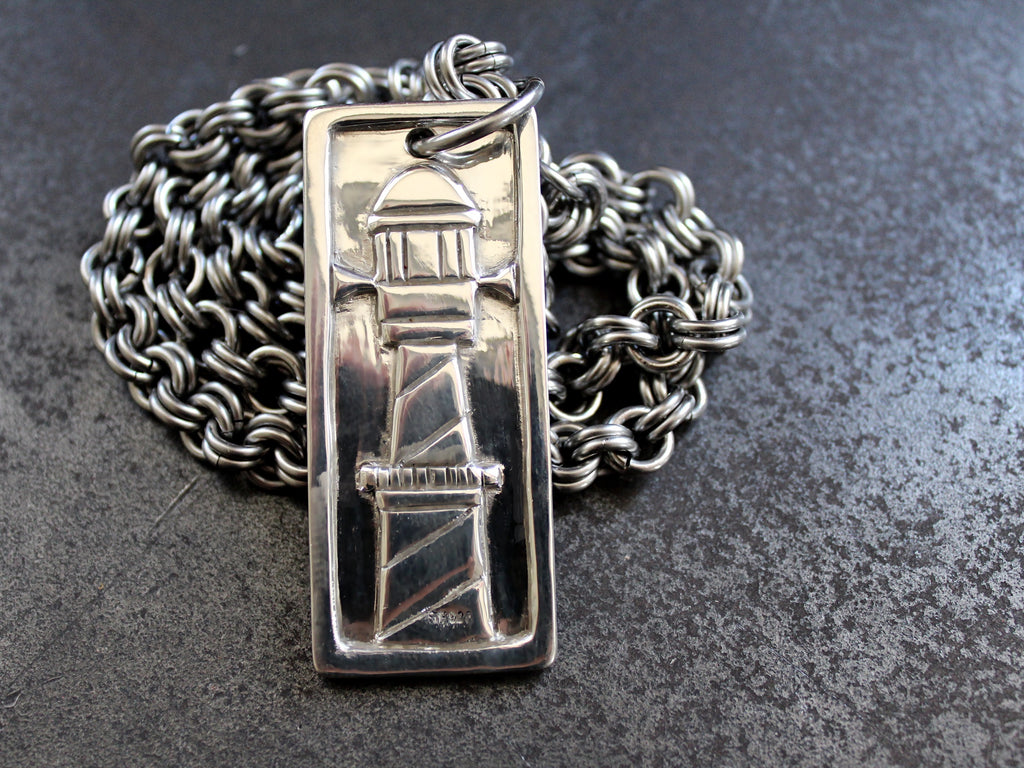 Sterling silver lighthouse pendant thick mens necklace by san filippo leather