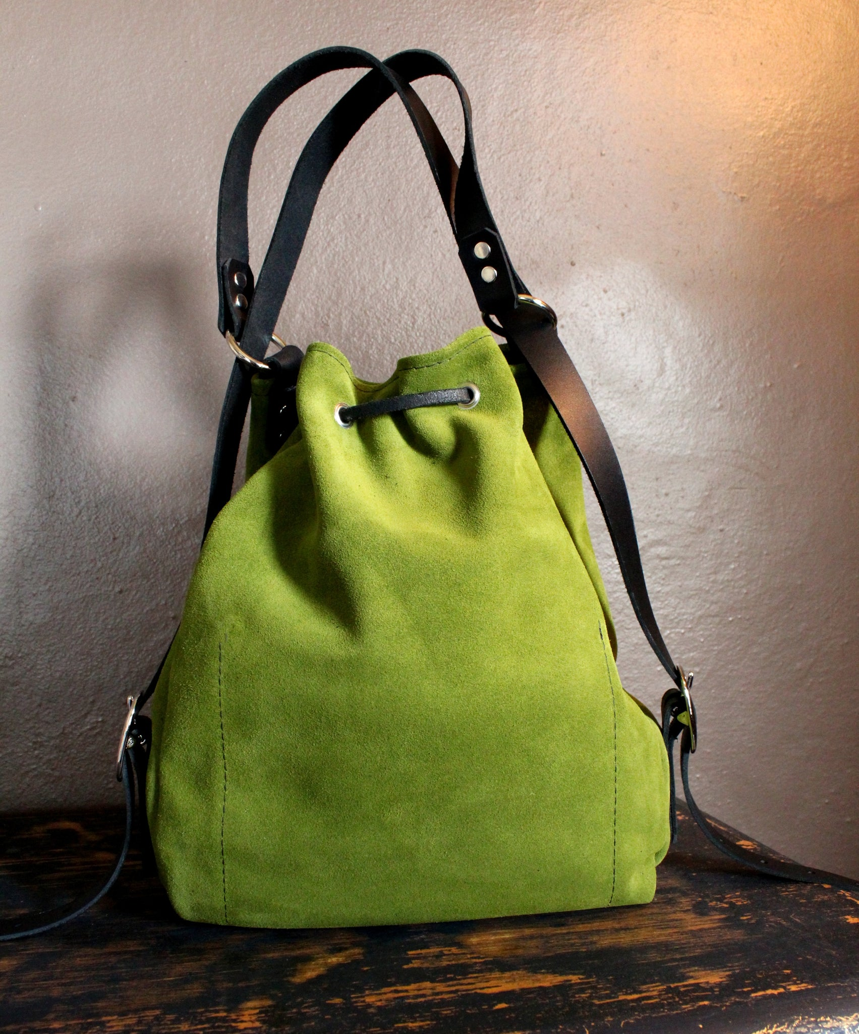 womens leather convertible bag two in one backpack purse suede