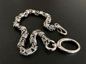 Mens stainless steel wallet chain orbit weave silver by san filippo leather