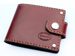 Mens custom leather bifold wallet by San Filippo Leather