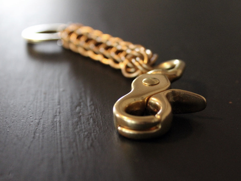 Brass persian key chain long metal gold by san filippo leather