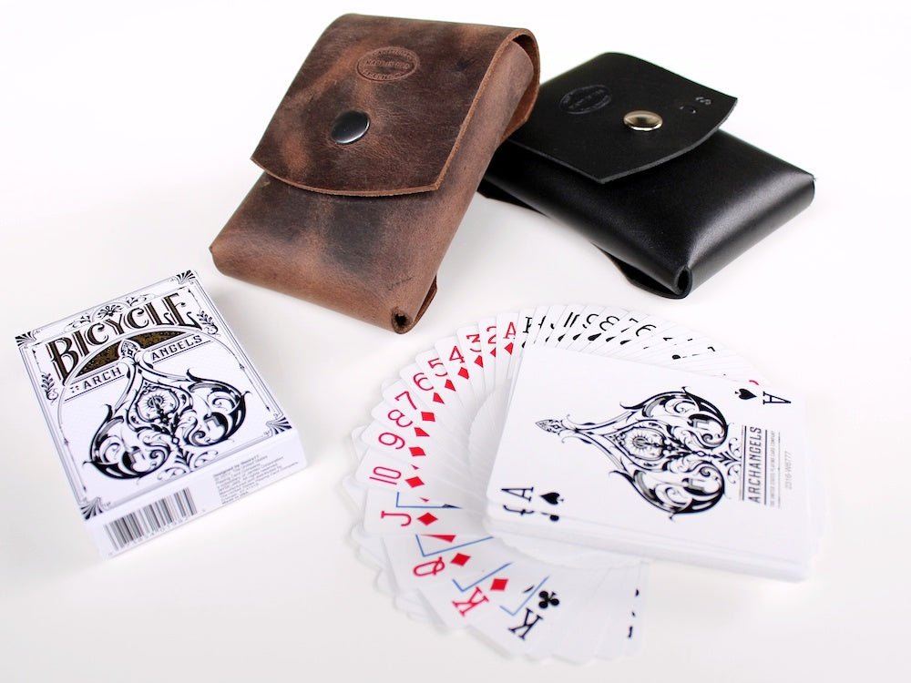 leather playing card case personalized bicycle archangels by san filippo leather