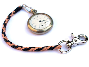 braided leather pocket watch chain san filippo leather