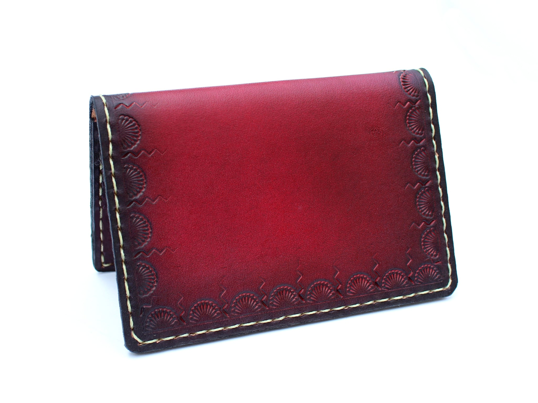 Red Tooled Double Card Wallet