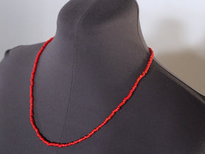 Mens Red Beaded Necklace glass beads metal free by san filippo leather