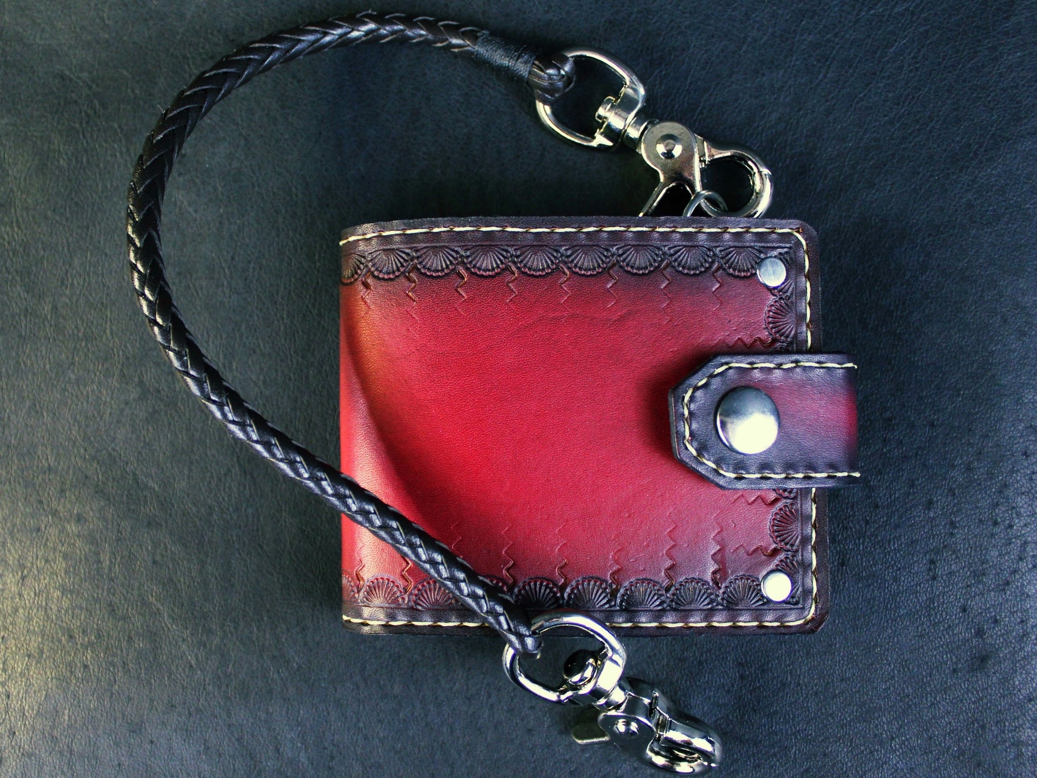 Custom red tooled leather wallet  with chain mens fashion by san filippo leather high end wallets