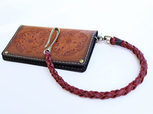 Thick braided leather wallet chain nickel silver brass by san filippo leather