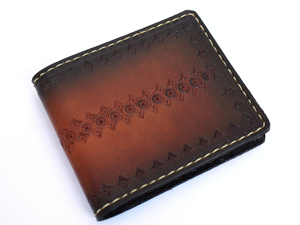 Santiago Leather Bifold Wallet Brown Tooled Design Men's by San Filippo Leather