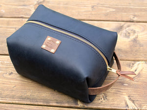 Mens Leather Square Dopp Kit Large by San Filippo Leather