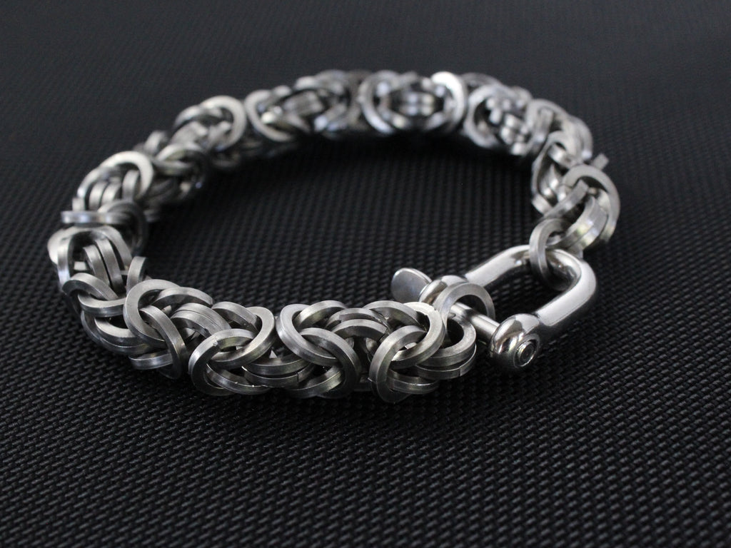 Squared Byzantine Stainless Steel Bracelet by San Filippo Leather