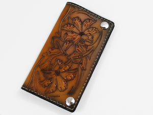 Brown Sunburst Tooled Leather Biker Wallet Sheridan Design by San Filippo Leather