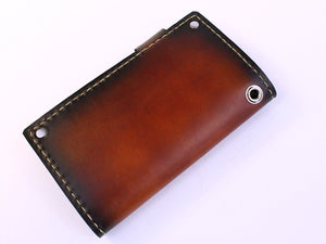 hand dyed brown sunburst leather full size men's wallet with snap by san filippo leather