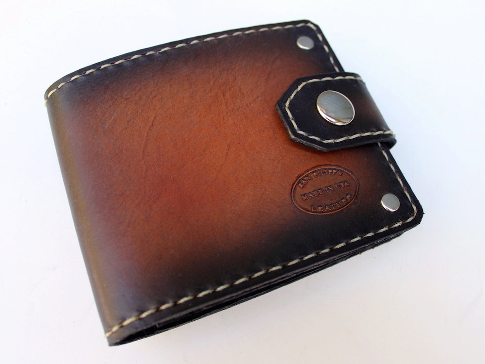 Mens leather wallet sunburst red brown custom american made by san filippo leather