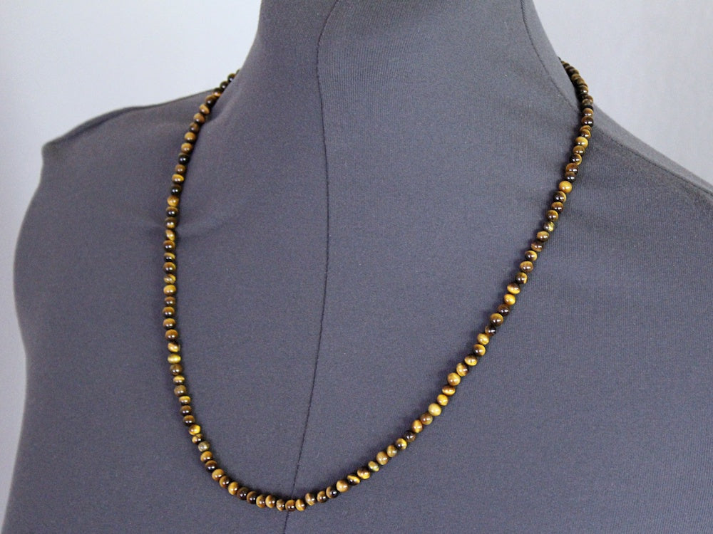 men's tiger's eye beaded necklace by san filippo leather