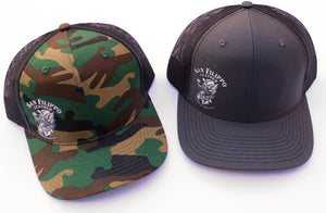 Grey and Camo Trucker Hats Wolf Logo San Filippo Leather
