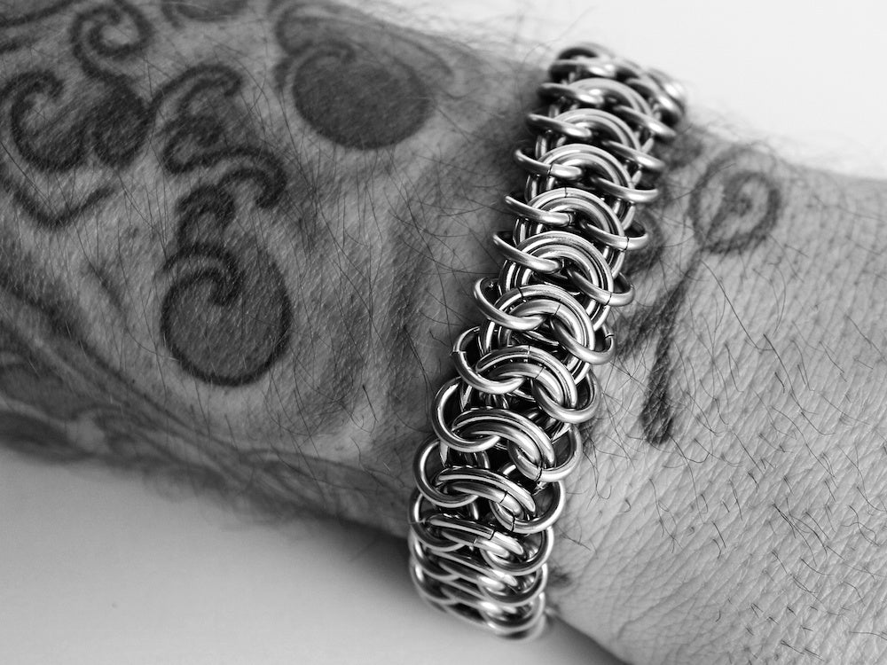 mens vertebrae bracelet flat chain stainless steel silver by san filippo leather