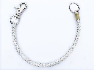 white braided leather wallet chain by san filippo leather