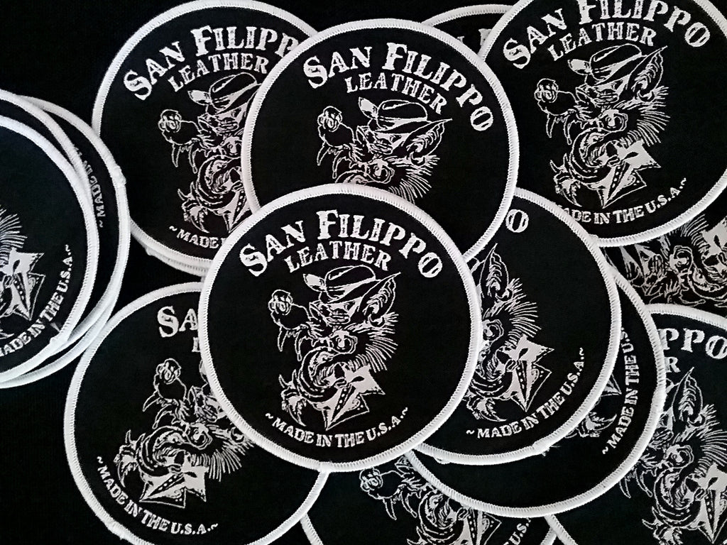 wolf logo embroidered patch san filippo leather