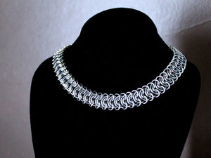 womens flat silver stainless steel chain necklace by san filippo leather
