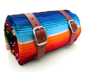 Leather Blanket Roll with Serape by San Filippo Leather