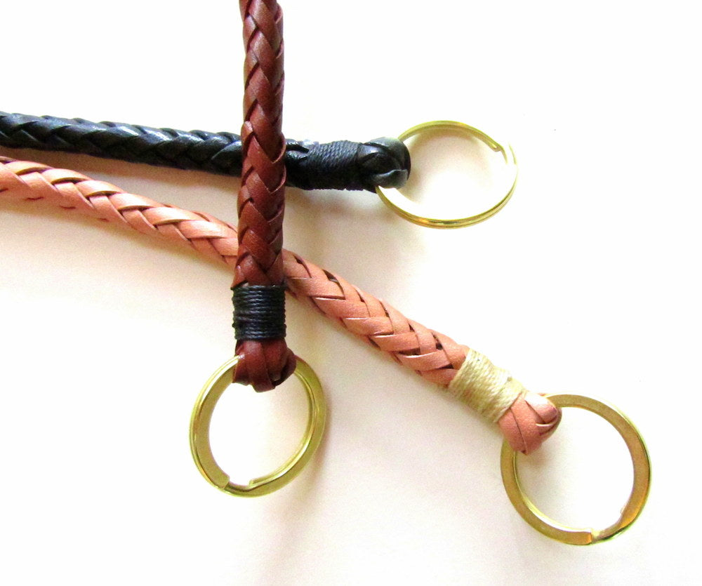hand braided leather wallet chain with fish hook by san filippo leather