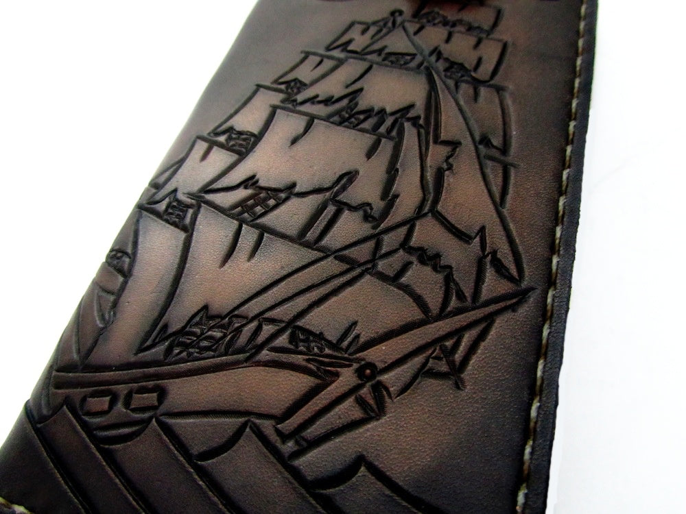 custom leather wallet with clipper ship pirate ship sailor nautical by san filippo leather