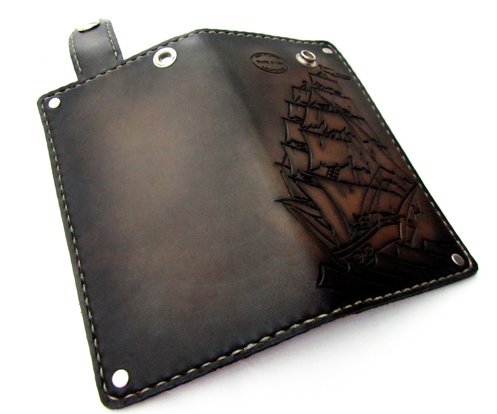 custom leather wallet with clipper ship sailor nautical by san filippo leather