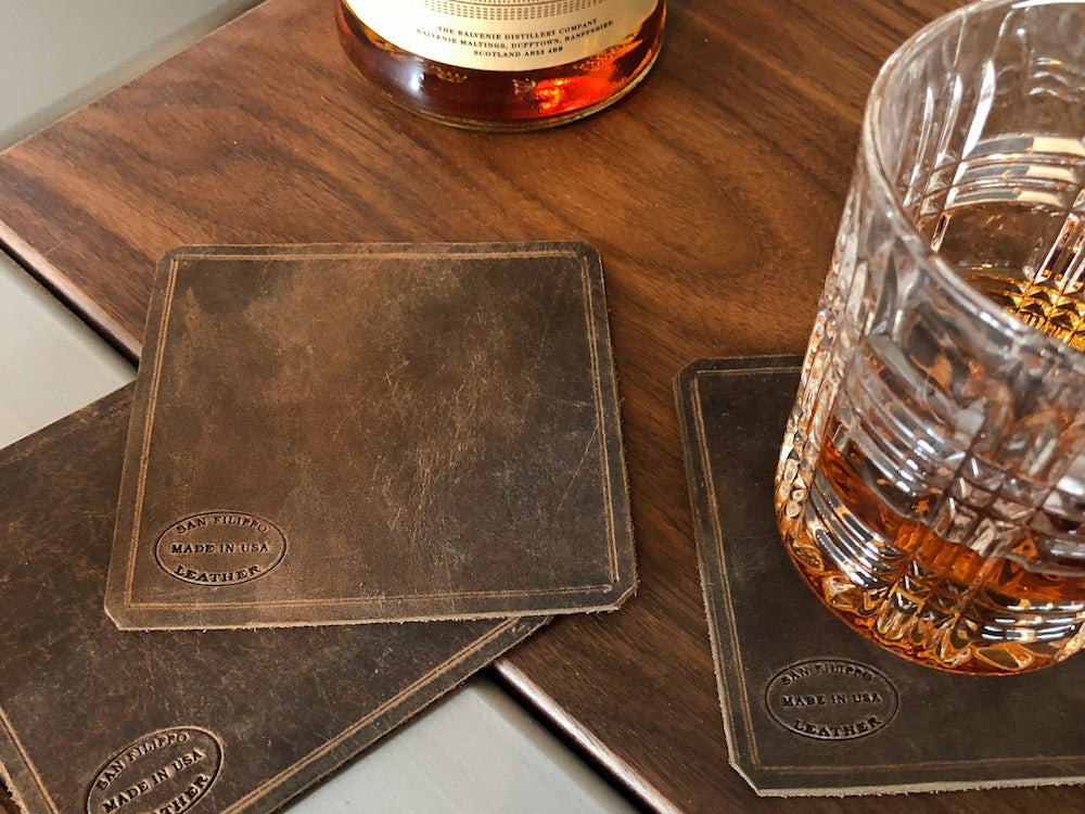 Brown Leather Coasters Square by San Filippo Leather