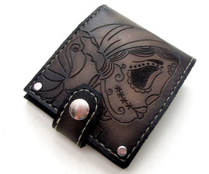 gypsy sugar skull dia de los muertos wallet by san filippo leather