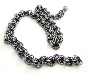 mens thick stainless steel silver chain by san filippo leather