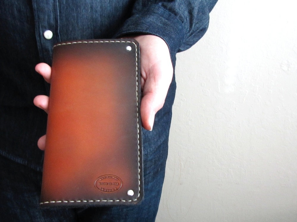 mens leather wallet hand dyed brown sunburst long coat full size high end wallet by san filippo leather
